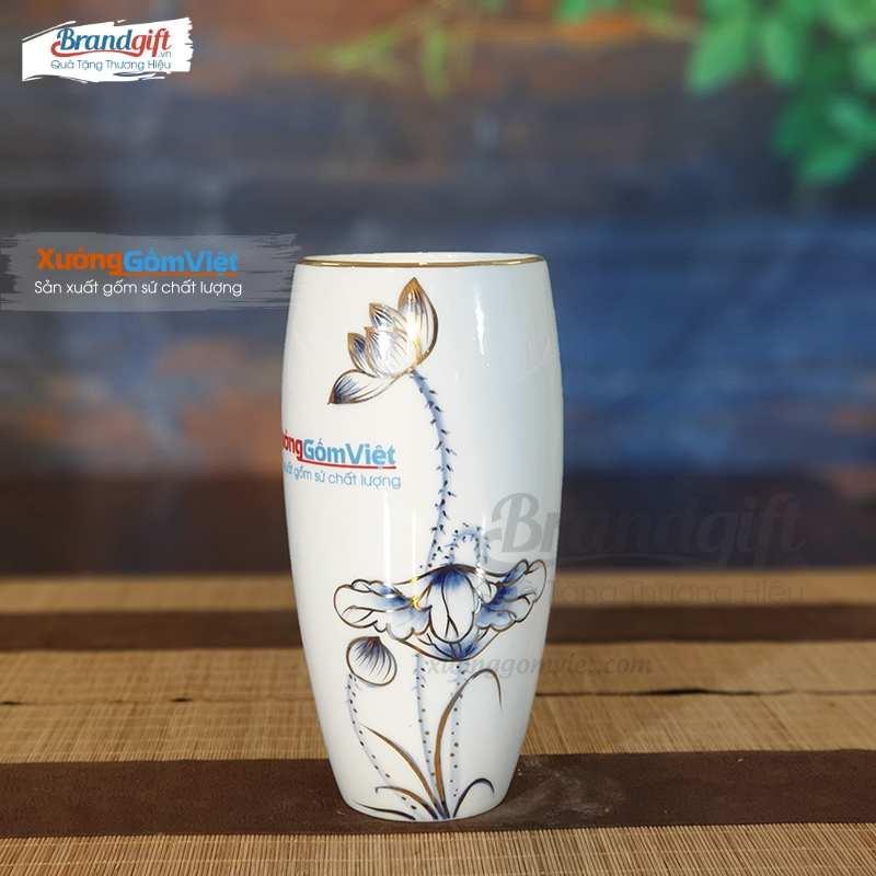 Lọ hoa sứ trắng LHS-CV03 vẽ tay họa tiết sen xanh