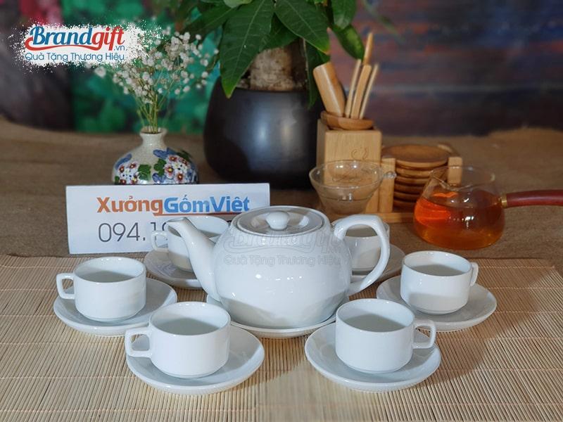 Bộ ấm trà sứ trắng AT-02