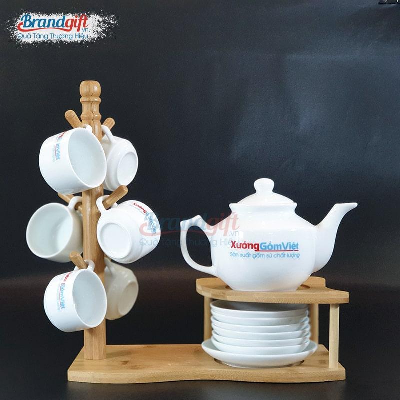 Bộ ấm trà sứ trắng AT-05