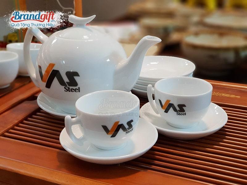 Bộ ấm trà sứ trắng AT-09