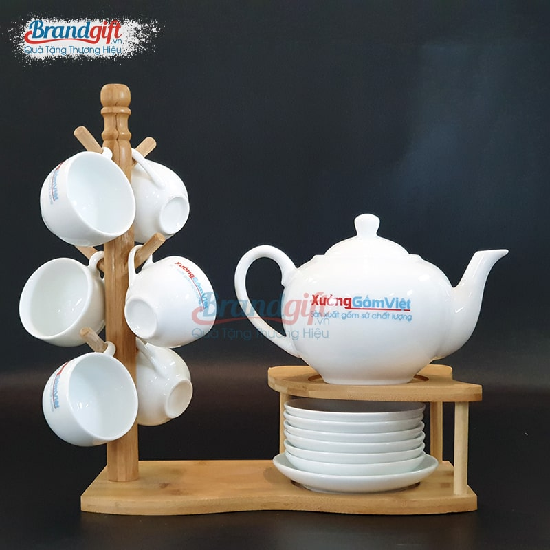 Bộ ấm trà sứ trắng AT-57