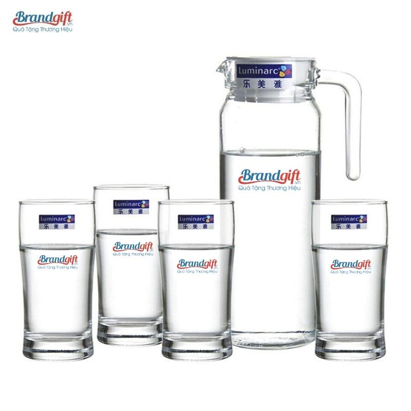 Bộ bình cốc thủy tinh Luminarc in logo chất lượng làm quà tặng