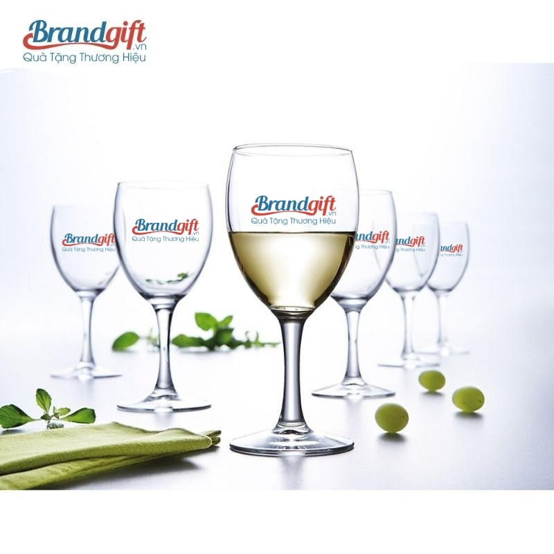 Bộ ly uống rượu vang in logo đẹp, chất lượng
